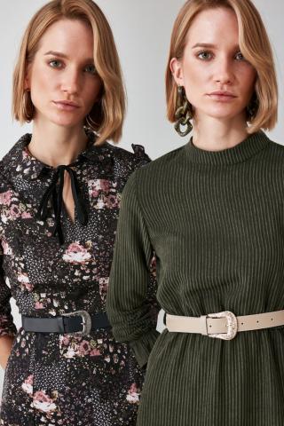 Trendyol Beige and Navy Leather Looking 2 Pack Buckle Belt dámské Multi M