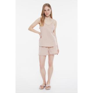 Trendyol Beige Frilly Woven Pajamas Set dámské 34