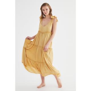 Trendyol Beige Lacing Detailed Beach Dress dámské 34