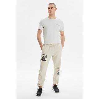 Trendyol Beige Mens Regular Fit Printed Sweatpants pánské S
