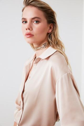 Trendyol Beige Oversize Shirt dámské 34