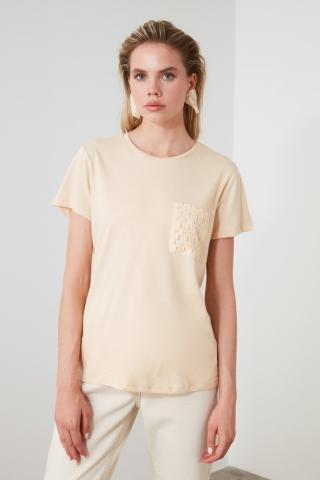 Trendyol Beige Pocket Detailed Basic Knitted T-Shirt dámské S