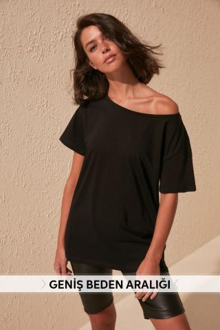 Trendyol Black 100% Cotton Boat Collar Boyfriend Knitted T-Shirt dámské S