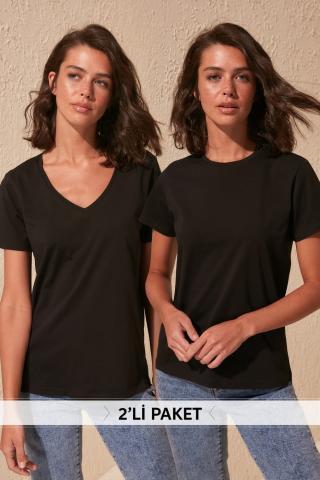 Trendyol Black 100% Cotton Suplet V Collar and Bicycle Collar 2 Package Knitting T-Shirt dámské XS