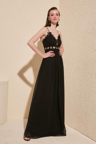 Trendyol Black Accessory Detailed Evening Dress & Graduation Dress dámské 36