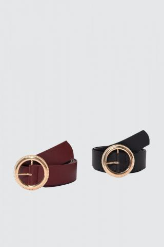 Trendyol Black and Burgundy Leather Looking 2 Pack Buckle Belt dámské Multi S