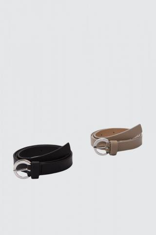 Trendyol Black and Stone Leather Looking 2 Pack Buckle Belt dámské Multi S
