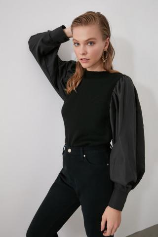 Trendyol Black Arm Woven Knitwear Sweater dámské S