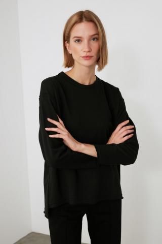 Trendyol Black Asymmetric Knitted Blouse dámské XS