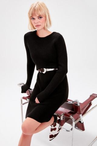Trendyol Black Back Binding Detailed Knitwear Dress dámské M
