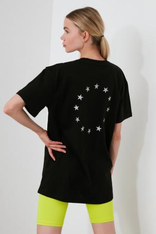 Trendyol Black Back Reflector Printed Boyfriend Sports T-Shirt dámské XS
