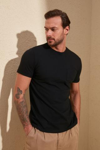 Trendyol Black Basic Mens Cotton T-shirt-Short Sleeve Cycling Collar Pocket Detailed pánské S