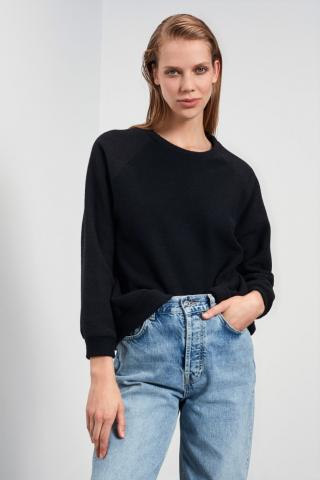 Trendyol Black Basic Towel Knitted Sweatshirt dámské XS