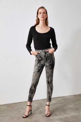 Trendyol Black Batik Wash High Waist Skinny Jeans dámské 34