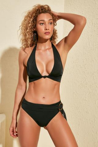 Trendyol Black Beltbuckle Clamour Detailed Bikini bottom dámské 34