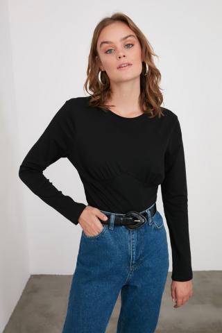 Trendyol Black Bicycle Collar Knitted Body dámské XS