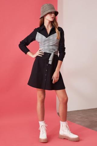 Trendyol Black Binding Detailed Dress dámské 34