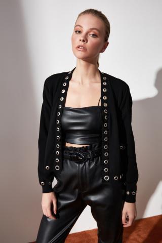 Trendyol Black Bird-Eyed Knitwear Cardigan dámské S
