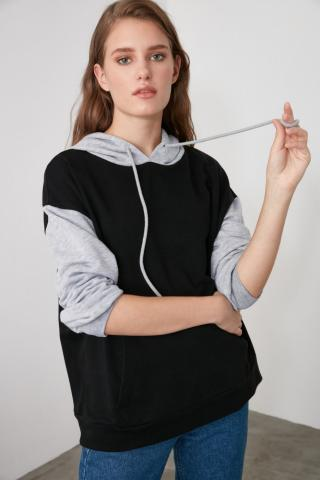 Trendyol Black Blocked Oversize Knitted Sweatshirt dámské XS