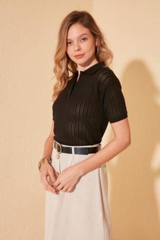 Trendyol Black Braid Detailed Polo Collar Knit Sweater dámské L