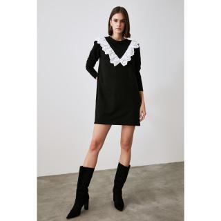 Trendyol Black Brode Detailed Knitted Dress dámské XS