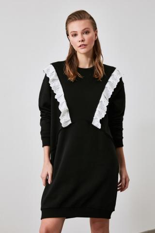 Trendyol Black Brode Detailed Knitting Dress dámské XS