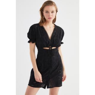 Trendyol Black Button Detailed Fisto Beach Dress dámské 34