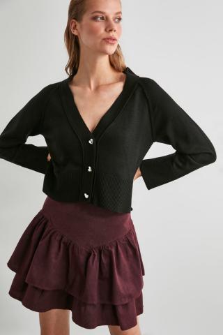 Trendyol Black Button Knitwear Cardigan dámské S