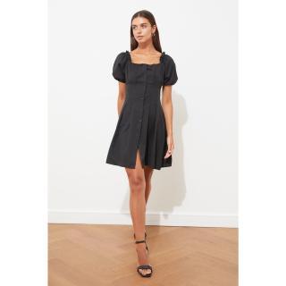 Trendyol Black Buttoned Square Neck Dress dámské 36
