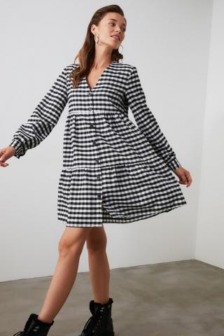 Trendyol Black Checkered Shirt Dress dámské 34