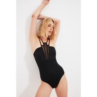 Trendyol Black Collar Tulle Detailed Swimsuit dámské Other 34