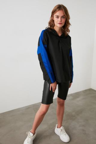 Trendyol Black Custom Fabric Hooded Sports Sweatshirt dámské M