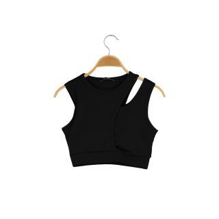 Trendyol Black Cut Out Detailed Knitted Sports Bra dámské XS