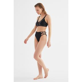 Trendyol Black Cut Out High Waist Bikini Bottom dámské 34