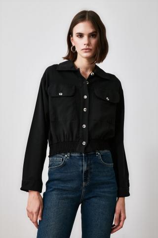 Trendyol Black Double Pocket Shirt dámské 36