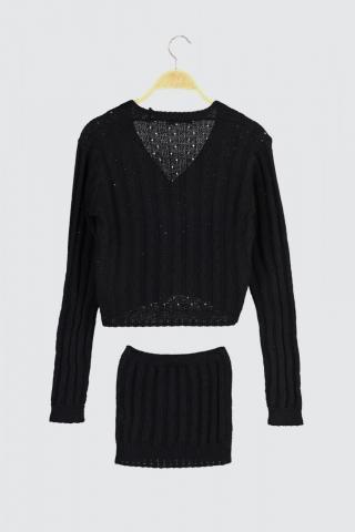 Trendyol Black Embroidery Detailed Blouse-Cardigan Knitwear Suit dámské S