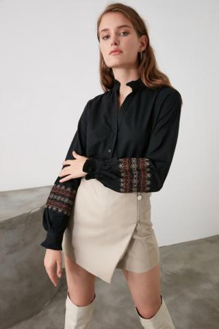 Trendyol Black Embroidery Detailed Shirt dámské 34