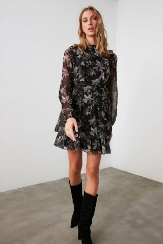 Trendyol Black Flywheel Dress dámské 34