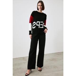 Trendyol Black Font Detailed Knitwear Sweater dámské S