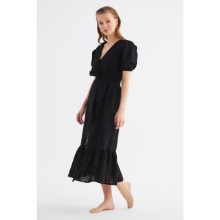 Trendyol Black Frilly Scalloped Kimono & Kaftan dámské S
