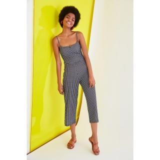 Trendyol Black Gingham Knitted Jumpsuit dámské XS