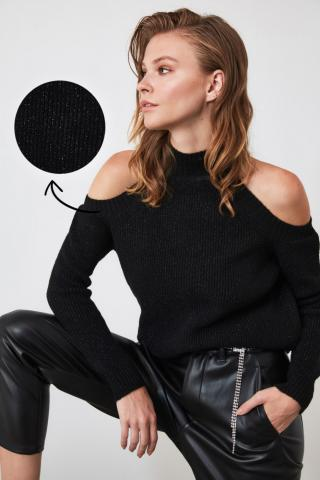 Trendyol Black Glitter Cut-Out Detailed Knitwear Sweater dámské S