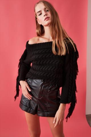 Trendyol Black Hair Braided Tassel Detailed Knitwear Sweater dámské S