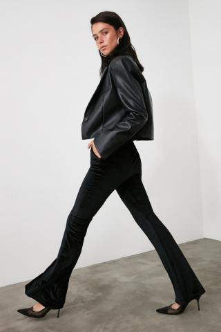 Trendyol Black High Waist Spanish Hem knitted Trousers dámské XS