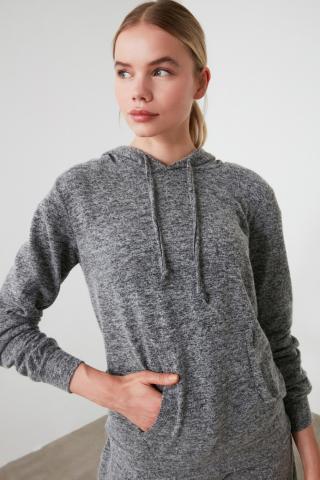 Trendyol Black Hooded Basic Sports Sweatshirt dámské XS
