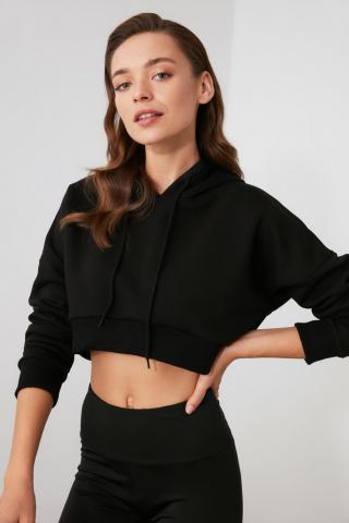 Trendyol Black Hooded Crop Sports Sweatshirt dámské XS