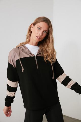 Trendyol Black Hooded Sports Sweatshirt dámské XS