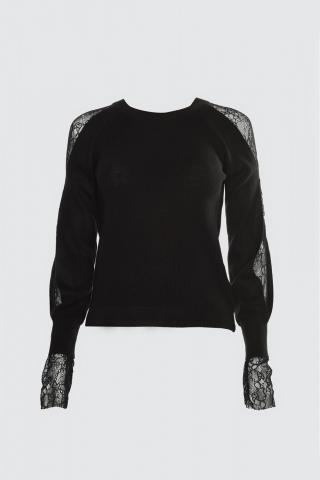 Trendyol Black Lace Detailed Knitwear Sweater dámské M