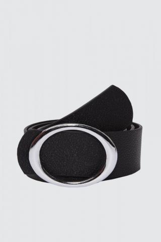 Trendyol Black Leather Buckle Belt dámské S