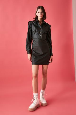 Trendyol Black Leather Looking Dress dámské 34
